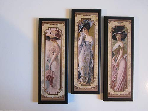 Ozark Mountain Homestead Victorian Ladies - 3 Piece Set Wall Decor Plaques - Elegant Bedroom or Bathroom Wooden Signs French or Victorian - Ladies Pictures Victorian