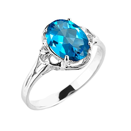 Elegant 14k White Gold December Birthstone Genuine Blue Topaz Gemstone Solitaire Ring (Size 7.5)