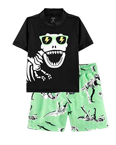 Carter's Boys' Rashguard Set (4T, Black/Dinosaur Skeleton)]()