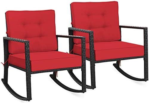 Tangkula Wicker Rocking Chair