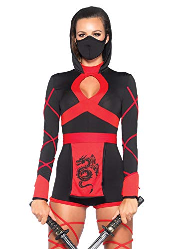 Scary Asian Halloween Costumes (Leg Avenue Women's Dragon Ninja, Black/Red,)