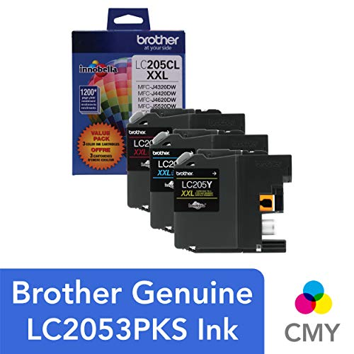 (Brother Genuine Super High Yield Color Ink Cartridge, LC2053PKS, Replacement Color Ink Three Pack, Includes 1 Cartridge Each of Cyan, Magenta & Yellow, Page Yield Up To 1200 Pages/Cartridge, LC205)