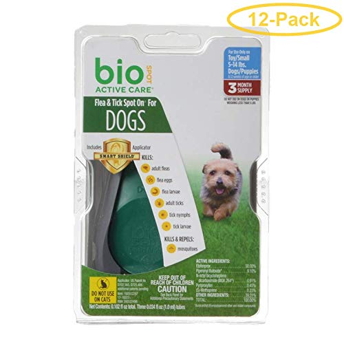 Bio Spot Active Care Flea & Tick Spot On for Dogs Small - 3 Month Supply - (Dogs 4-14 lbs) - Pack of 12