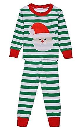 Cnlinkco Christmas Pajamas Set Kids Cute 2pcs Santa Claus Print Stripe Top and Pants