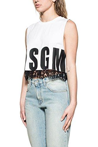 Msgm Mujer 2242MDT129X17429801 Blanco/Negro Algodon Top