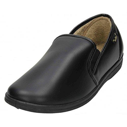 CABALLEROS Acogedor Poliuretano Pantuflas casa Zapatos Suave Forro Negro