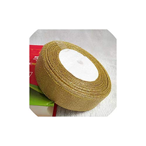 25 Yards Gold/Silver Silk Satin 1-4CM Glitter Embroidered Onions Ribbons for Wedding Cake Gift Bouquet Craft,2.5cm Gold ()