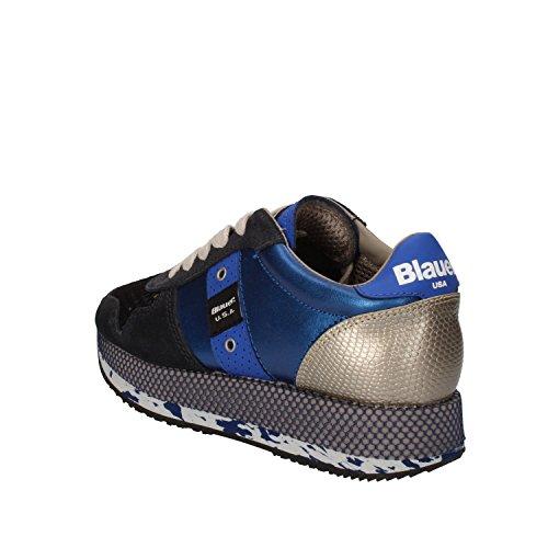 BLAUER USA Sneakers Donna Blu Pelle Camoscio Tessuto AD196