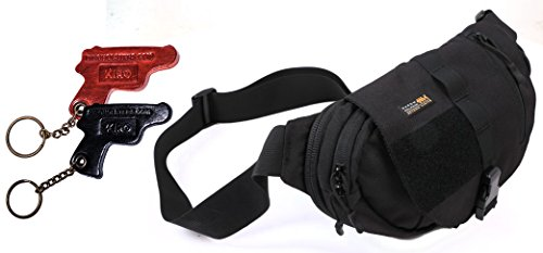 Dolphins Moon (BG5400 Marom Dolphin Full Moon Bag - Concealed Gun Holster with Several Compartments for Any Pistol + KIRO Leather Key Chain)