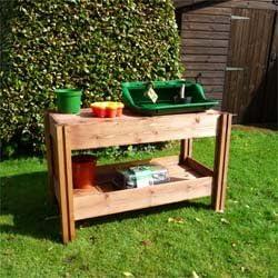 Macetas de jardín de madera FSC mesa/banco de trabajo - Ideal para el tornillo central para invernadero: Amazon.es: Jardín
