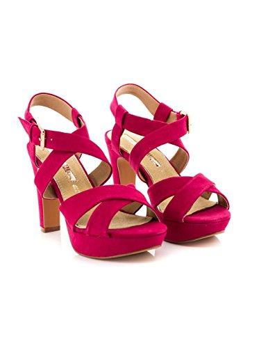 Sandalia Maria Mare Textil Fucsia 66815 Rojo