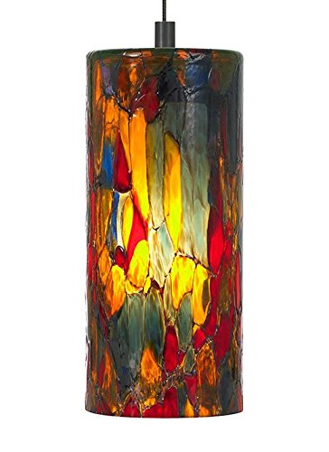 LBL Lighting HS459BARBZLEDMPT Abbey LED Low Voltage Pendant, Bronze Finish with Blue-Amber-Red Glass Shade