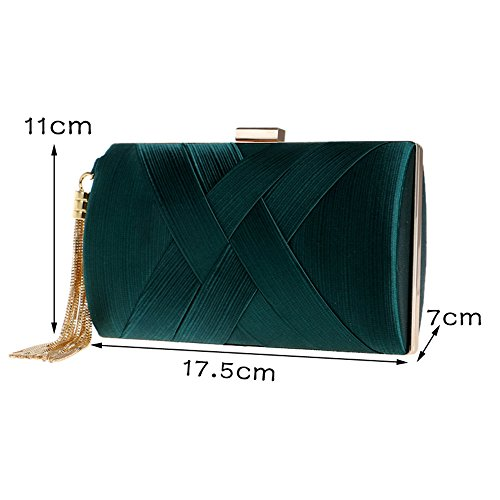 Clutch Bags Wedding Handbag Techecho Women's Purse Color Evening Pink Bridal Party Frosted Sequins Green Clutch v8q8ISx0
