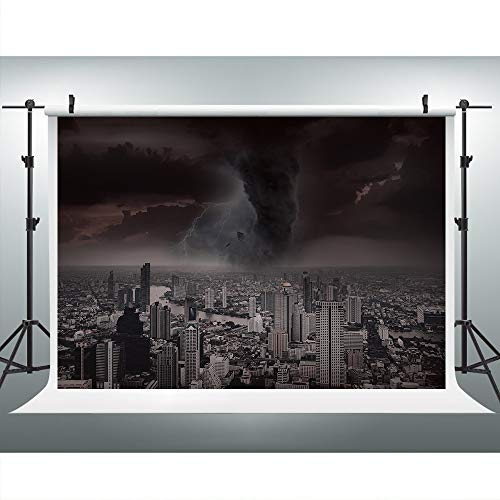 Tornado Ruin City Backdrops for Party, 9x6FT, Disaster Dark World End Backgrounds, Themed Party Photo Booth Props LYLU070]()