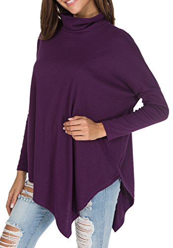 - Womens Turtleneck Oversized Baggy Shirts Batwing Sleeve Pullover Tops Purple L