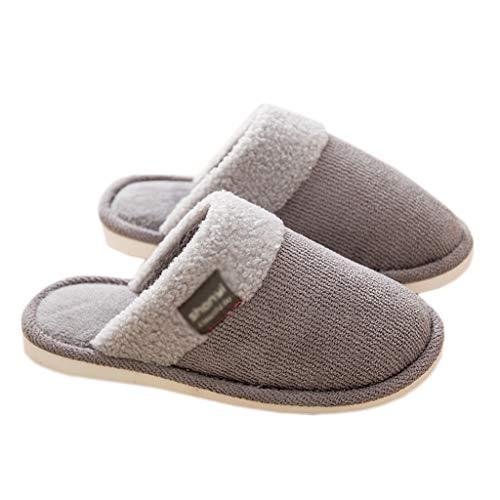 Pantoffeln AMINSHAP Männer Baumwolle Hausschuhe Hause Indoor Slip Schwerboden Bodenbelag Paar Warme Plüsch Hausschuhe (Farbe : Brown, größe : 39-40EU) Gray