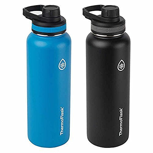 (ThermoFlask Stainless Steel 40-Ounce Water Bottle (Light Blue/Black), 2-Piece)