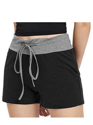 Hemlock Camouflage Shorts Women Workout Yoga Sport Pants Drawstring Shorts High Waist Cotton Trousers (M, Black)
