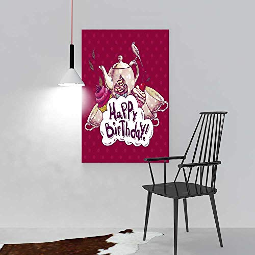 aolankaili Paintings of Decorative Frameless Happy Birthday Invitation Card with a Cups Cupcake Bird and Pot Restaurant Bedroom Painting W20 x H40 ()