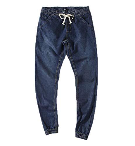 Oneforus Hombres Cordón Mezclilla Harén Pantalones Azul Oscuro
