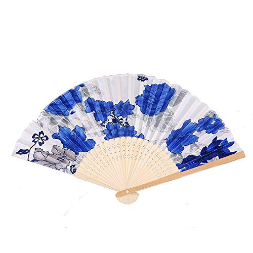 SeedWorld Decorative Fans - Vintage Hand-Paint Folding Fan Wooden Bamboo Silk Handheld Fans Dancer Flower Printing Hand Fans Wedding Party Decoration 1 PCs ()