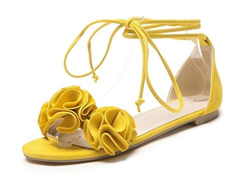 1cm sangles Yellow Xie Confortable Adolescent 42 Pleines 42 Femmes étudiant De 31 Cheville Sandales Plates Des fleurs antidérapant Quotidien rYCqnR6Yw