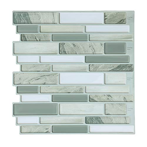HUE DECORATION Modern Peel and Stick Tile Backsplash for Kitchen, Decorative Vinyl Backsplash Peel and Stick for Rental House, Stick on Backsplash Tiles for RV Kitchen,Smart Arabesque Tile Pack of 6