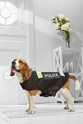 Medium Dog Police Mesh Vest For Beagle Poodle Boston Terrier Cocker Spaniel Vizsla (Medium Plus Size, black, fluorescent green) - Frenchie Costume Plus Size
