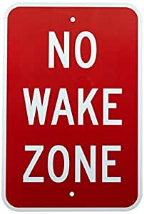"""SmartSign Aluminum Sign, Legend """"No Wake Zone"""", 18"""" high x 12"""" wide, White on Red by SmartSign by Lyle"""