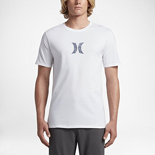 Mens Tee Icon (Hurley MTS0023530 Men's Icon Push Through T-Shirt, White W - L)