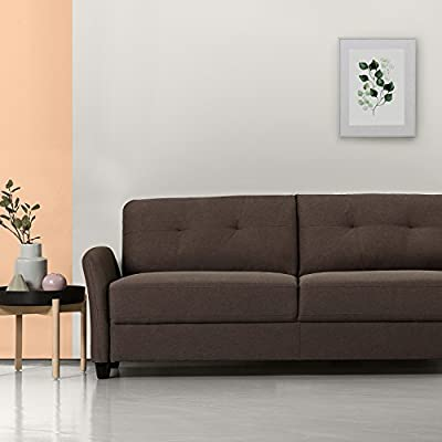 "ZINUS Ricardo Sofa Couch / Tufted Cushions / Easy, Tool-Free Assembly, Chestnut Brown - DIMENSIONS: 78.4 x 30.7 x 31.5 in | Weight: 86.31 lbs CONTEMPORARY COMFORT, FRONT AND CENTER - Infinitely suitable for an array of spaces, the tufted Ricardo brings comfort and contemporary flair into your home and is available in a wide variety of shades, so it can strike the right ""tone"" wherever it sits BUILT TO LAST - A naturally strong frame is wrapped in supportive foam cushioning and durable woven fabric; seats a maximum weight capacity of 500 lbs; seat cushions are secured to the frame and are not detachable, while back cushions are detachable - sofas-couches, living-room-furniture, living-room - 41e%2BBtYJ0nL. SS400  -"