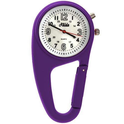 Relda Clip On Nurses Rubberised Purple Carabiner Light Pocket Fob Watch ()