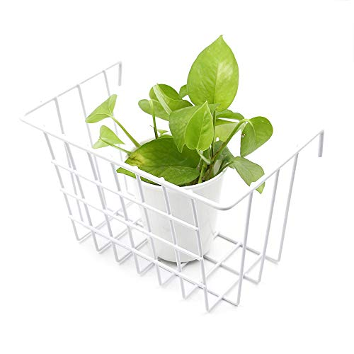 ANZOME Grid Basket, Wire Wall Basket with Hook, Wall Mount Organizer for Grid Panel, Wire Storage Shelf Rack for Home Supplies, Wall Decor(White) ()
