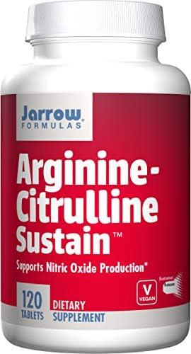 Jarrow Formulas Arginine-Citrulline Sustain, Supports Nitric Oxide NO Production, 120 Tablets