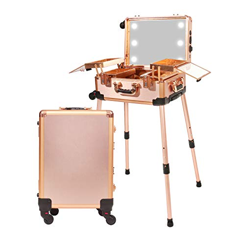 Jula Vance Medium Makeup Train Case with 3-Code Password Safe Lock & Full Screen Lighted Mirror & 3 Light Colors Travel Cosmetic Organizer Box, Professional Artist Trolley Studio Free Standing Case