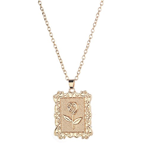 YESMAEA Square Rose Pendant Necklace Flower Vintage Necklace Rectangle Personalized Necklaces Jewelry for -
