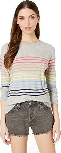 Splendid Women's Cashblend Stripe Pullover Light Heather Grey/Rainbow Medium