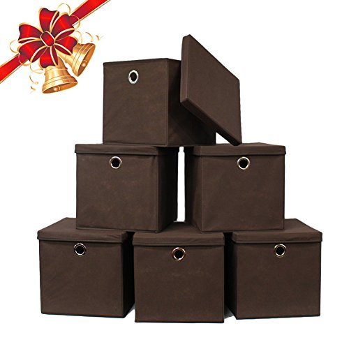 Bins Brown (Pezin & Hulin 6 Pack Foldable Storage Cubes with Lid and Metal Eyelet Handle, Fabric Storage Bins 11 x 11 x 11 inch, Collapsible Basket Box Container, Cloth Organizer for Shelves, Closet, (Brown))