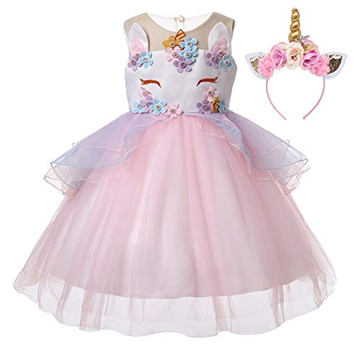 Kids Girls Flower Tulle Birthday Unicorn Toddler Mythical Costume Cosplay Baby Girl Pageant Tutu Princess Dress up Teen Cute Unicorn Headband Party Gown Outfits 5-6 Years (Pink & Headband, -