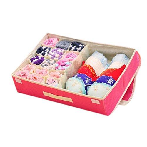 NewKelly Non-woven Two-in-one Storage Box For Underwear Bra Socks Ties Finishing Box Random Color
