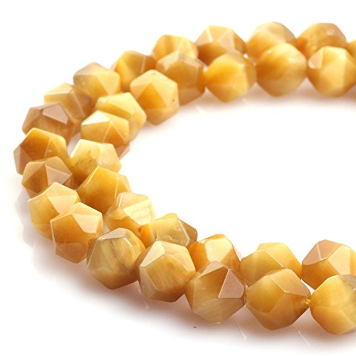 JOE FOREMAN 8mm Tiger Eye Semi Precious Gemstone Faceted Gold Yellow Loose Beads for Jewelry Making DIY Handmade Craft Supplies 15