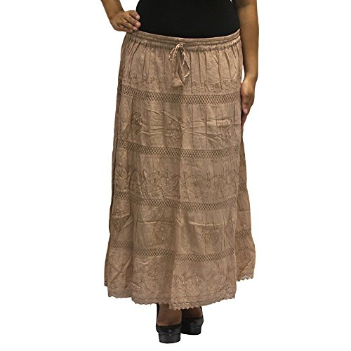 Mid Length Stretch Skirt (LSS51 White SOLID Ethnic Womens Peasant Bohemian Gypsy Mid Length Skirt -)