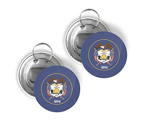 - Utah UT USA State Two Pack of Flag Beer Bottle Opener Keychain Buttons 2.25-inch Round