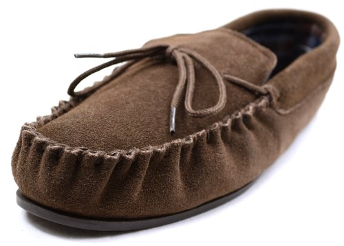 SNUGRUGS Mens Cotton Lined Suede Moccasin Slipper With Rubber Sole Taupe