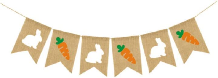 Carrot and Chick Rustic Garland TRIXES 2M Burlap Easter Bunting Rabbit