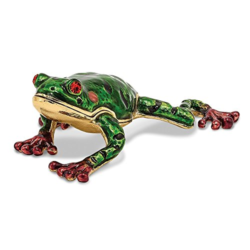 - Jere Luxury Giftware Bejeweled Frank Red Eyed Frog, Pewter with Enamel Collectible Trinket Box with Matching Pendant Necklace