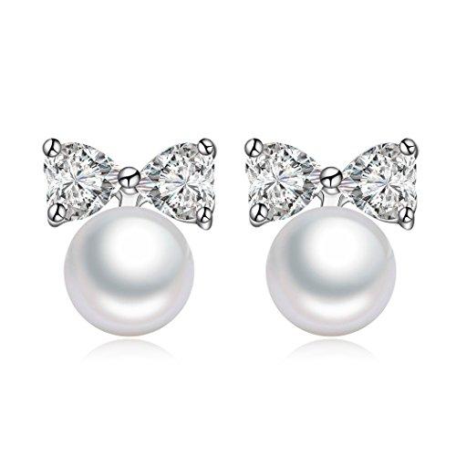 Sterling Silver Freshwater Pearl Heart Shape Zircon Stud Earrings