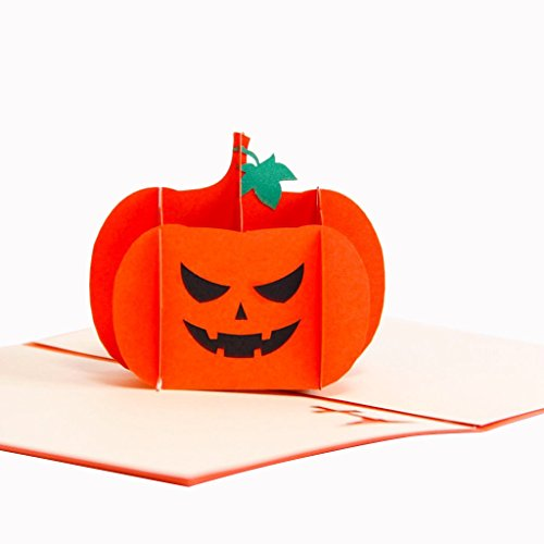 HeartMoon Angry Pumpkin Pop up Halloween Card With Envelope Laser Cut Pumkin Thanksgiving Greeting Card Handmade Birthday Card For Kids Boys (Free Happy Halloween Cards)