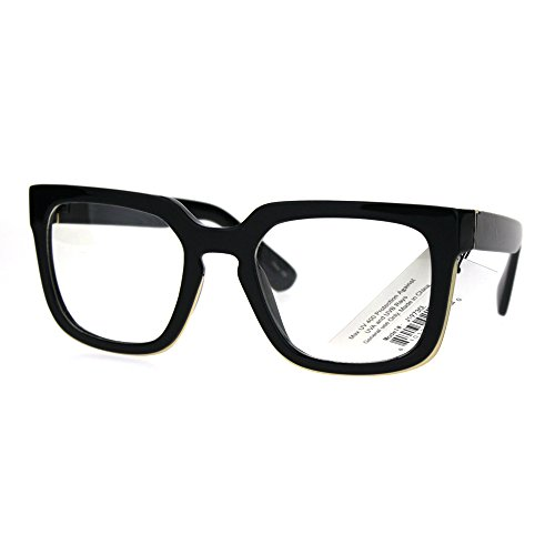 Mens Mod Luxury Squared Horned Plastic Eye Glasses Frame - Eyeglasses Black Frames