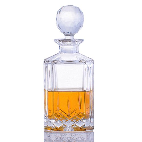 Crystalize Cut Crystal Whiskey Decanter and Glasses - 5 Piece Set